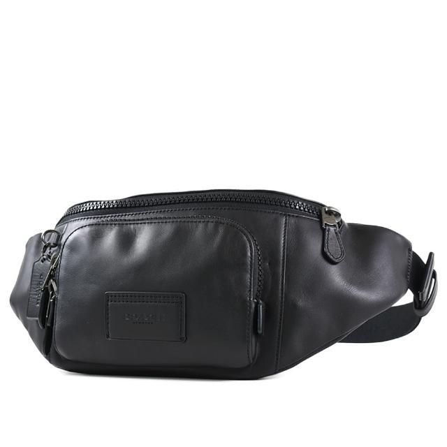 【COACH】小牛皮雙層拉鍊置物單肩/腰包-黑色