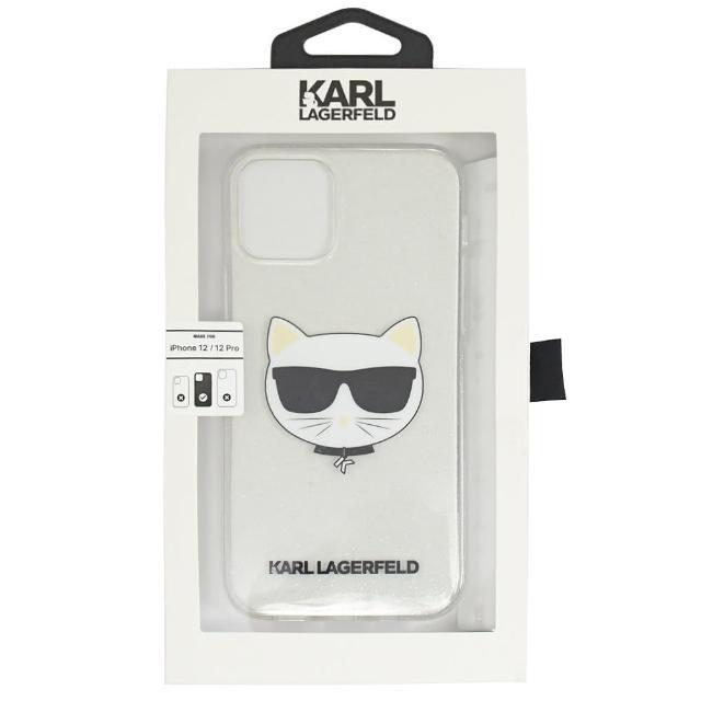 【KARL LAGERFELD 卡爾】老佛爺 Iphone12/PRO 透明貓咪LOGO手機套(6.1吋)