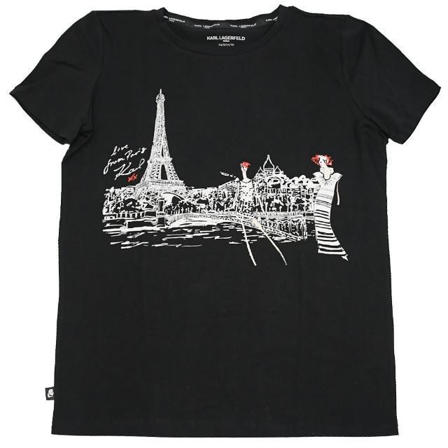 【KARL LAGERFELD 卡爾】老佛爺 時尚女巴黎街頭圖案個性棉短T(黑)