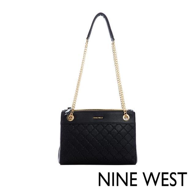 【NINE WEST】ELLIE氣質壓紋鍊帶肩背包-黑色(116813)
