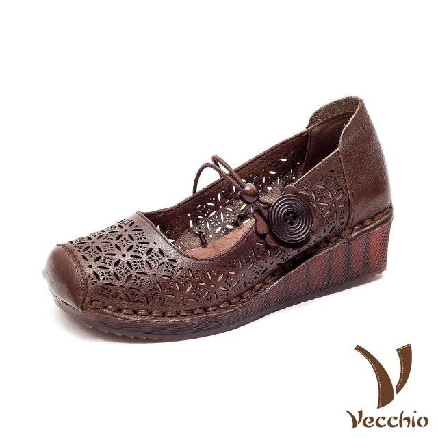 【Vecchio】真皮跟鞋 坡跟跟鞋 一字跟鞋/全真皮頭層牛皮細緻縷空刻花彈力一字帶花朵造型坡跟鞋(棕)