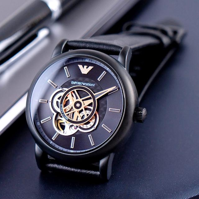 【EMPORIO ARMANI】亞曼尼 公司貨 Luigi 極簡紳士鏤空皮革機械錶/黑(AR60012)