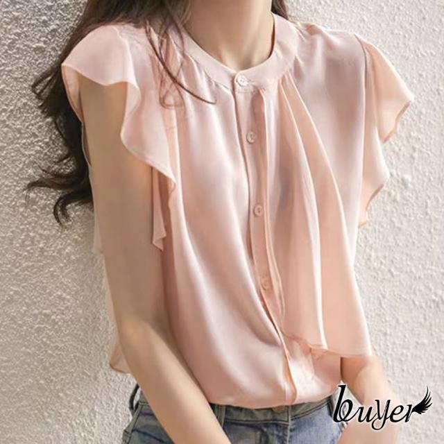 【buyer 白鵝】優雅 木耳袖鈕釦雪紡上衣(粉色)