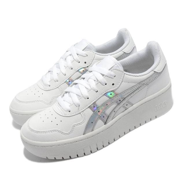 【asics 亞瑟士】休閒鞋 Japan S PF 女鞋 亞瑟士 復古 板鞋 厚底 皮革鞋面 穿搭 白 銀(1202A300100)