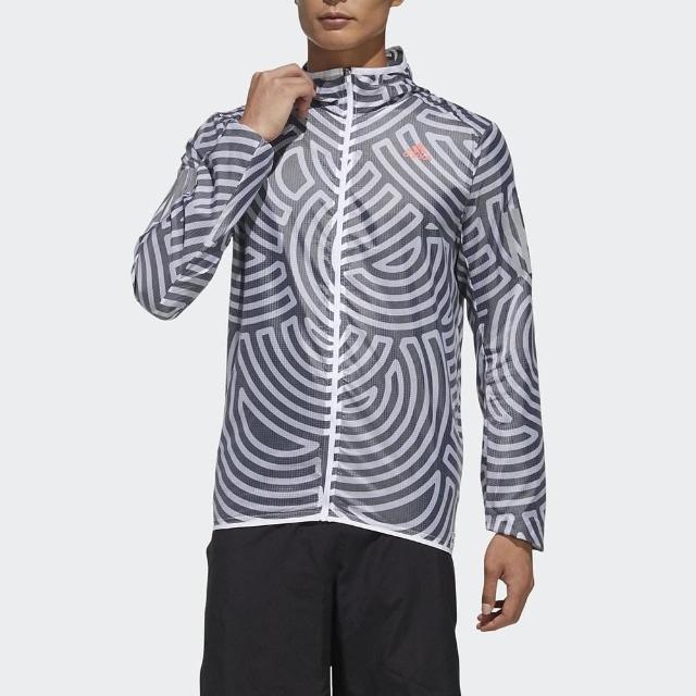 【adidas 愛迪達】外套 男款 運動 健身 慢跑 連帽 風衣 TYO RUN JK M 黑白 GD5028