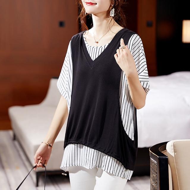 【麗質達人】3383黑白格紋二件式上衣(L-5XL)