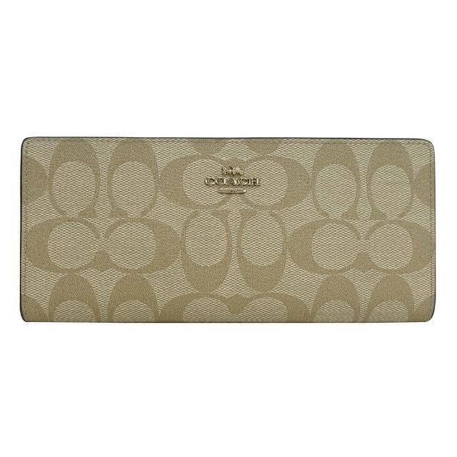 【COACH】COACH金字LOGO薄型印花帆布12卡釦式對折長夾(淺褐x卡其)