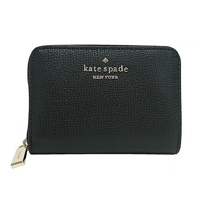 【KATE SPADE】Kate Spade銀字LOGO荔枝紋牛皮6卡拉鍊風琴零錢短夾(黑)