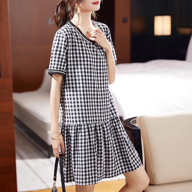 【麗質達人】3363黑白格紋假二件洋裝(L-5XL)