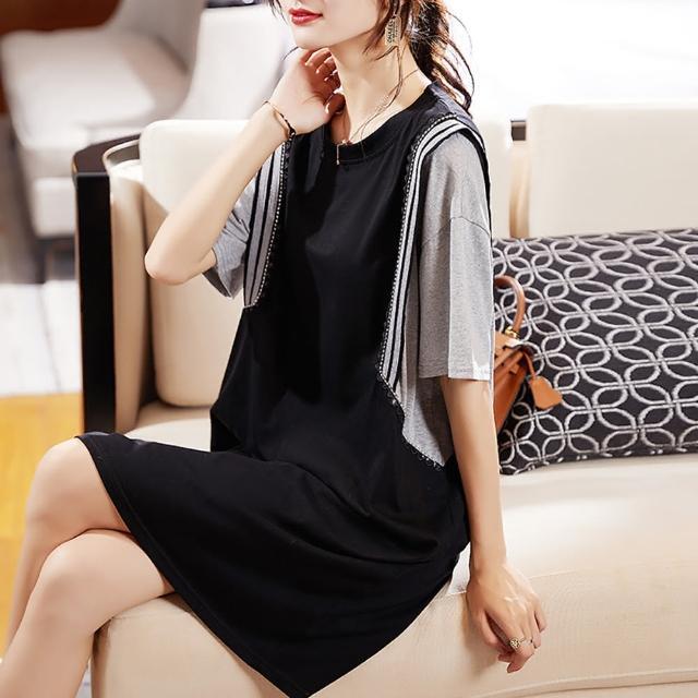 【麗質達人】3391黑灰色假二件洋裝(L-5XL)