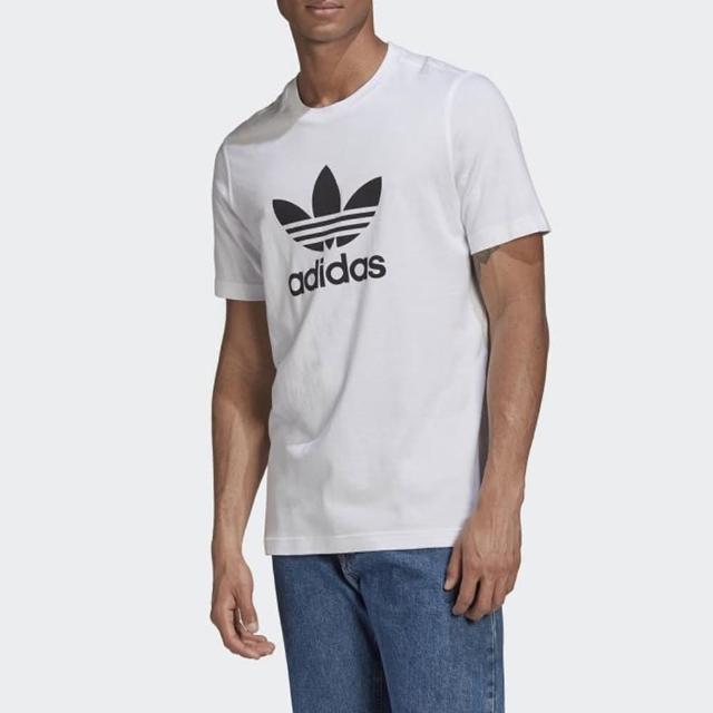 【adidas 愛迪達】上衣 男款 運動 健身 慢跑 三葉草 TREFOIL T-SHIRT 白 GN3463
