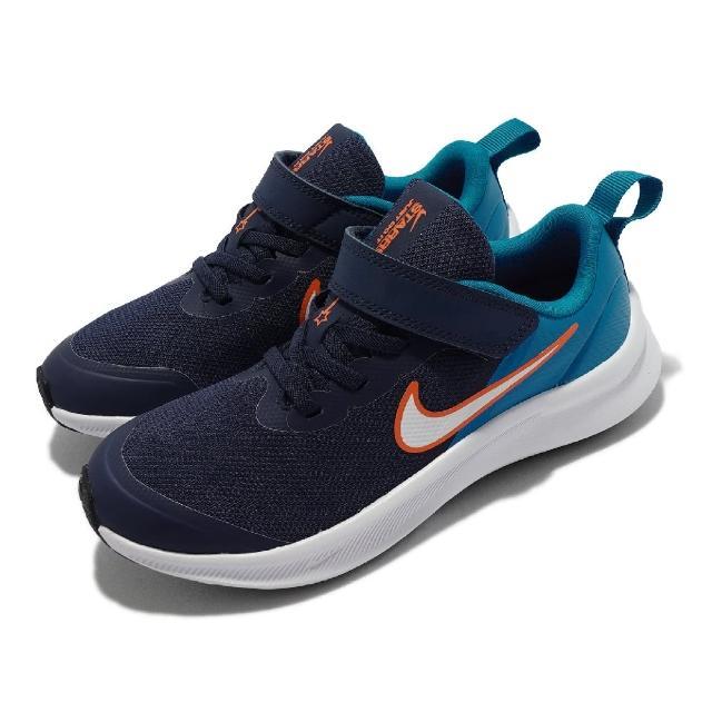 【NIKE 耐吉】慢跑鞋 Star Runner 3 PSV 童鞋 輕量 透氣 舒適 避震 魔鬼氈 中童 藍 白(DA2777-401)