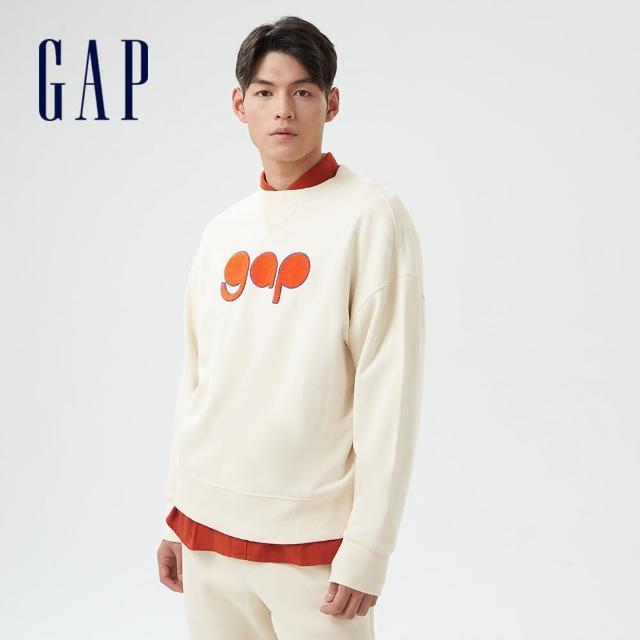 【GAP】男裝 Logo法式圈織軟休閒上衣(756678-奶油米色)