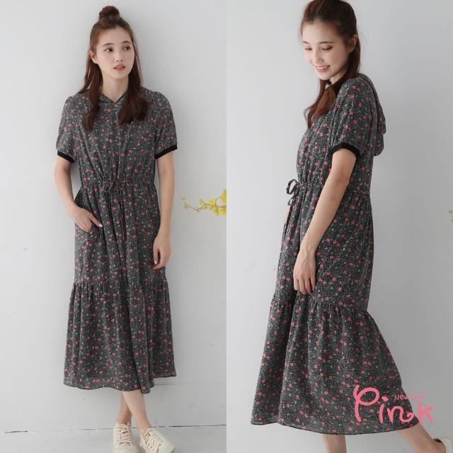 【PINK NEW GIRL】甜美花卉小豹紋短袖連帽雪紡洋裝 J1101AQ(黑色)