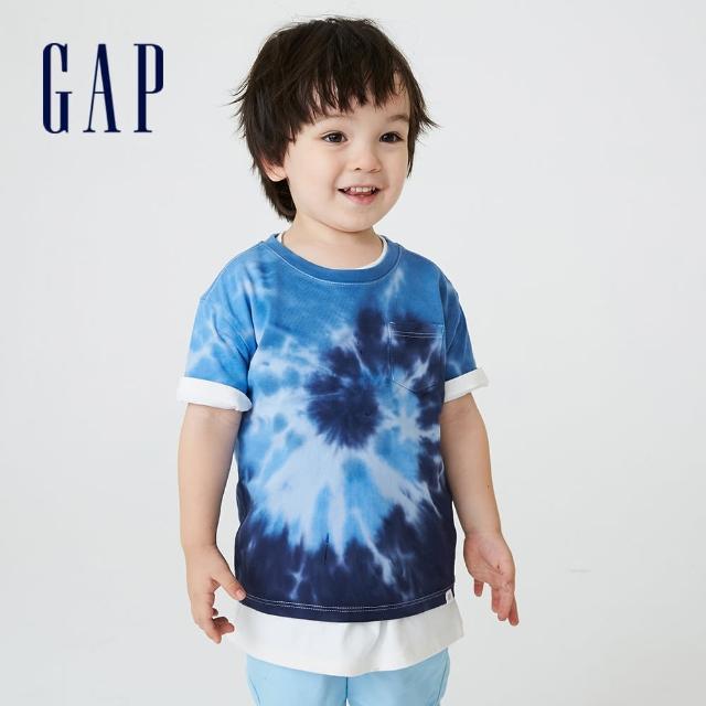 【GAP】男幼童 寬鬆紮染印花親膚短袖T恤(755644-藍色紮染)