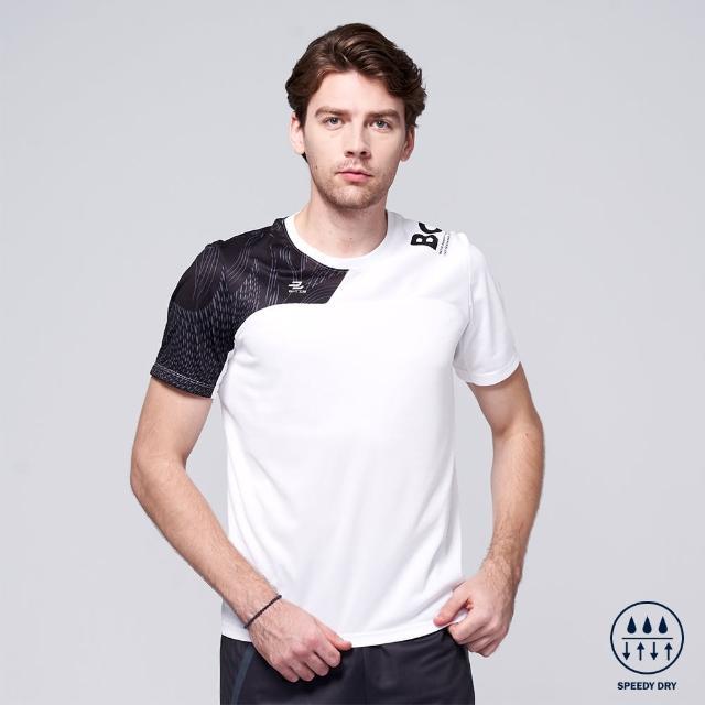 【BATIS 巴帝斯】吸濕排汗非對稱印花運動短袖上衣 - 男 - 兩色(白/黑)