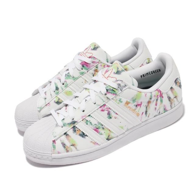 【adidas 愛迪達】休閒鞋 Superstar 經典款 運動 女鞋 海外限定 貝殼頭 渲染 環保材質 大童 白 綠(GX5406)