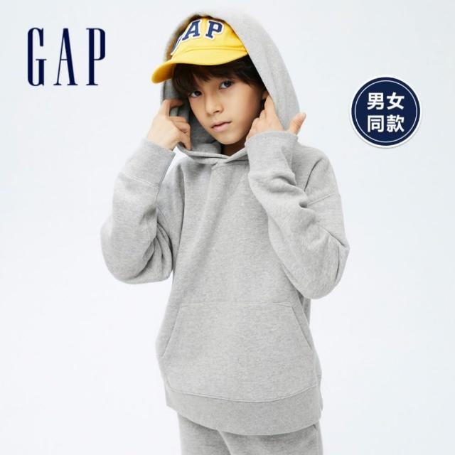 【GAP】男童 素色刷毛寬鬆連帽休閒上衣(743047-淺灰色)