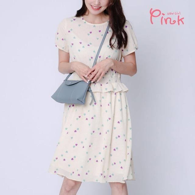 【PINK NEW GIRL】雙色小愛心立體波浪彈性滾腰短袖雪紡洋裝 I5101DD