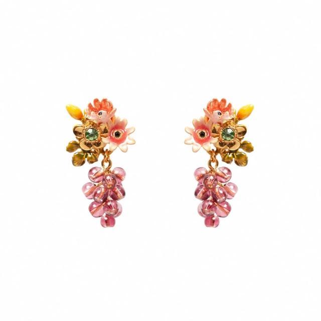 【Les Nereides】小小庭園-百日菊與葡萄耳環