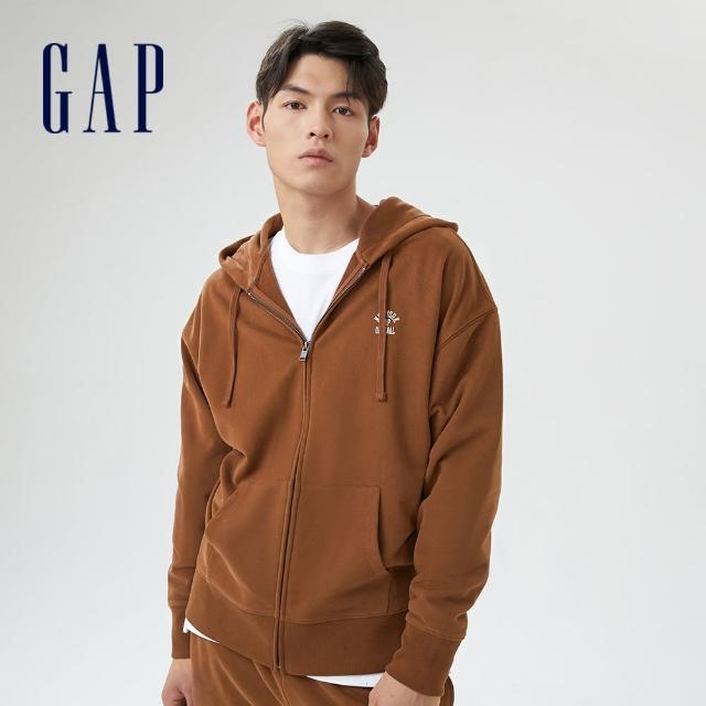 【GAP】男裝 印花法式圈織軟連帽外套(735933-摩卡棕)