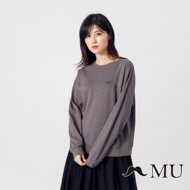 【maru.a】MU 設計感剪裁經典LOGO長袖上衣(深灰)