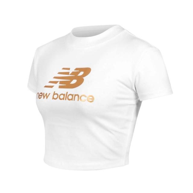 【NEW BALANCE】女短版短袖T恤-休閒 上衣 NB 白金(WT13503SST)