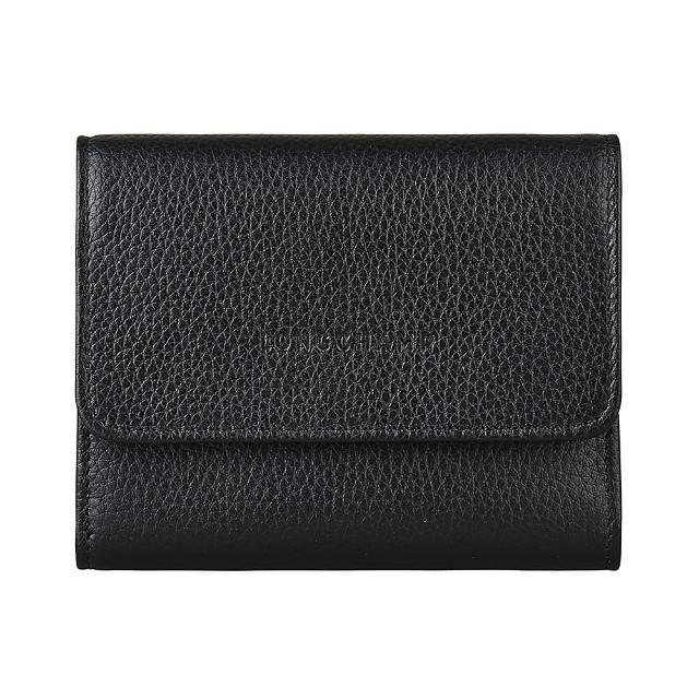 【LONGCHAMP】LONGCHAMP LE FOULONNE壓印LOGO牛皮6卡扣式短夾(黑)
