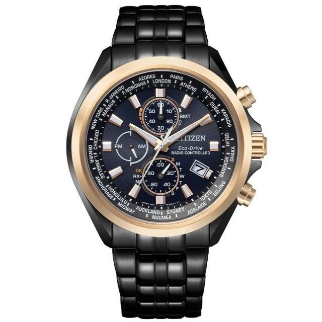 【CITIZEN 星辰】質感巔峰黑鋼電波光動能腕錶(AT8206-81L)