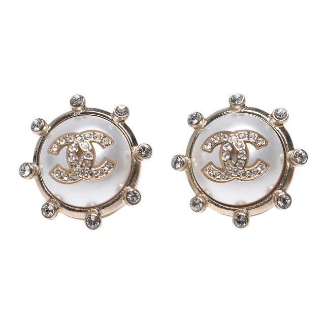 【CHANEL 香奈兒】經典雙C LOGO水鑽鑲飾圓形造型穿式耳環(金AB6635-OR)