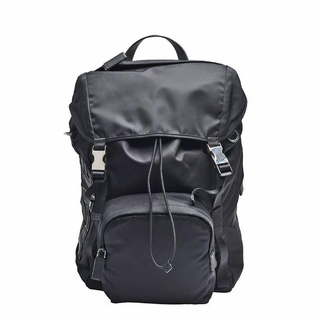 【PRADA 普拉達】經典皮革品牌LOGO尼龍多口袋雙插釦後背包(黑2VZ135-TESSUTO CHARACT-NERO)