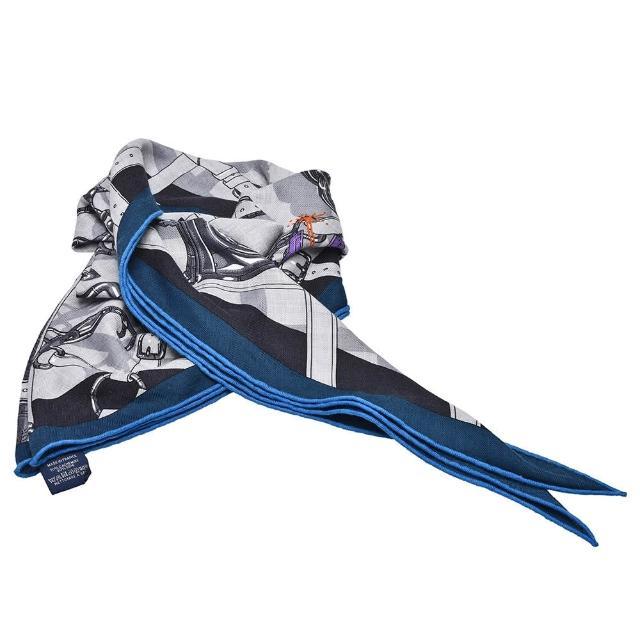 【Hermes 愛馬仕】經典艦艇圖騰絲質三角披巾(深藍H003088S-BLUE)