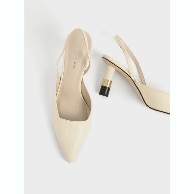 【CHARLES & KEITH】金屬拼接跟鞋-石灰白