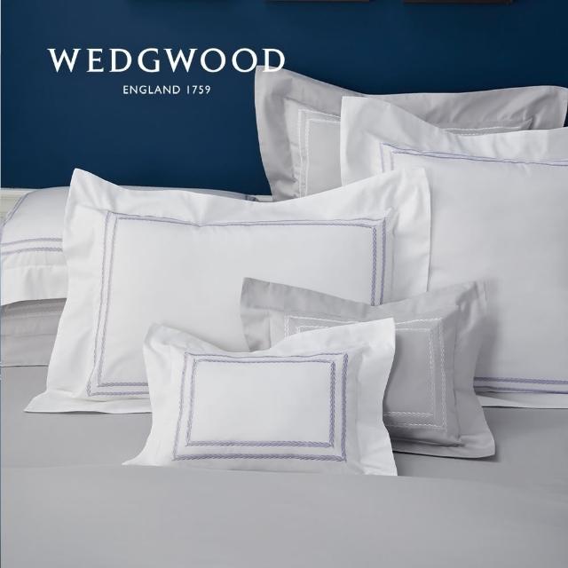 WEDGWOOD【WEDGWOOD】400織長纖棉刺繡被套枕套組-璀璨白(加大)