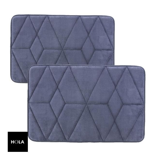【HOLA】新超吸水舒壓踏墊幾何靛藍 50x80cm x1+40x60cm x1