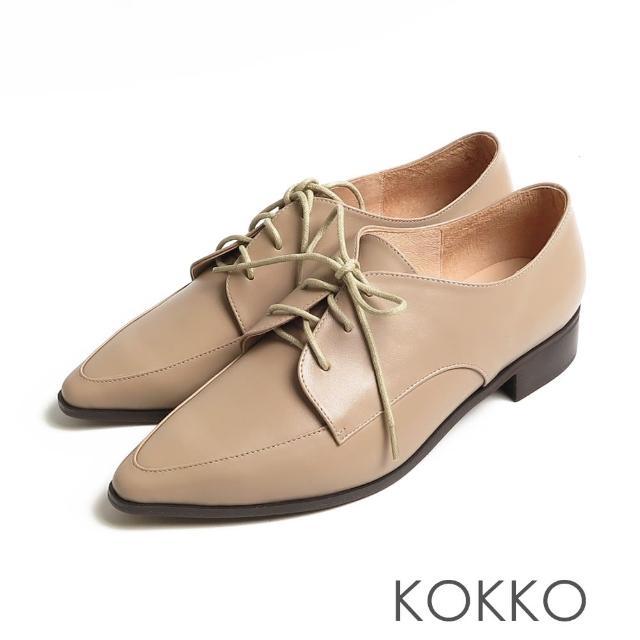 【KOKKO 集團】方頭女紳啞光舒壓牛皮粗跟牛津鞋(駝灰色)