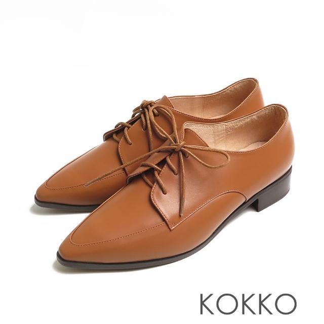 【KOKKO 集團】方頭女紳啞光舒壓牛皮粗跟牛津鞋(奶茶色)