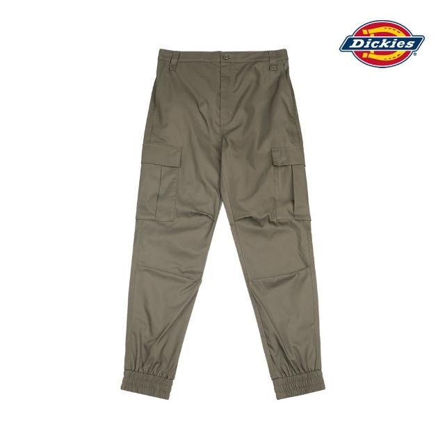 【Dickies】女款軍綠色斜紋膝部壓褶多口袋縮口褲 DK008835MGR