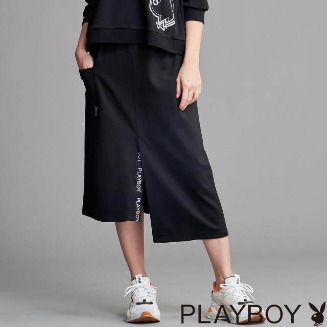 【PLAYBOY】開衩LOGO織帶長裙(黑色)