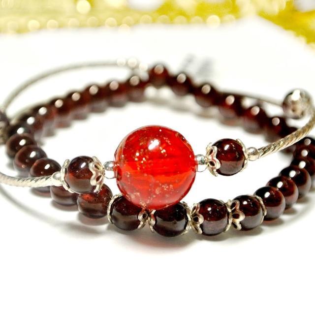 【AK】香芬珠寶(半寶石手鍊 -紅石榴雙圈)