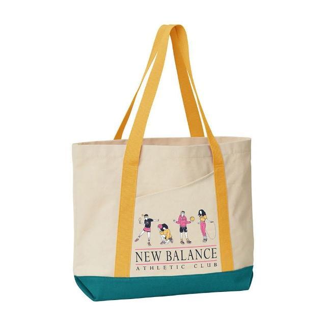 【NEW BALANCE】NB 側背包 托特包 帆布包 購物包 運動包 米白 LAB13139ASE